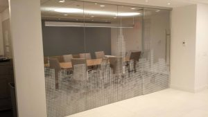 decorative film on conference room glass wall