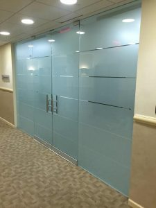 frosted privacy window film on office door