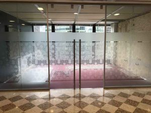 patterned decorative window film on lobby entrance